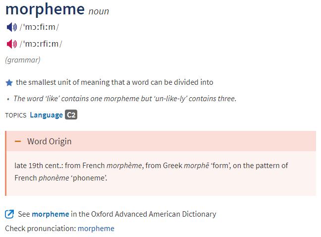 Oxford Lerner's - Morpheme