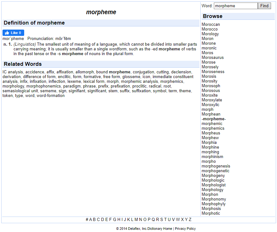 Webster Dictionary - Morpheme